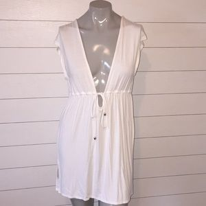Merona front tie swimsuit cover up dress white med